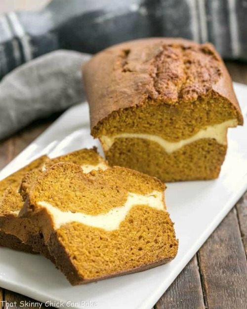 Cream Cheese Filled Pumpkin Bread by That Skinny Chick Can Bake