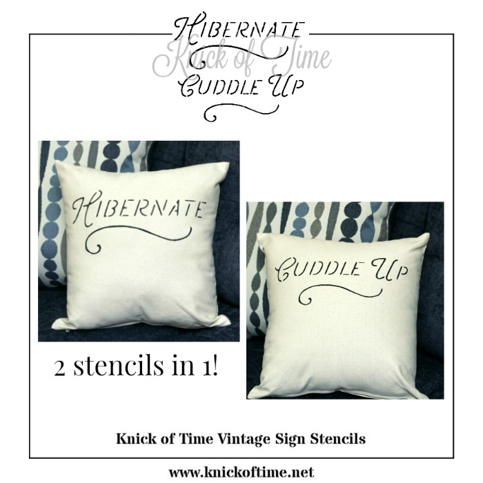 DIY Canvas Fall and Winter pillow stencils by Knick of Time Vintage Sign Stencils   www.knickoftime.net
