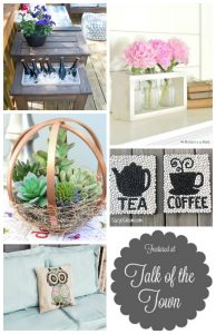 Patio table with built-in beverage cooler, Farmhouse vase holder, Embroidery hoop terrarium globe, Kitchen wall art with beans, How to paint fabric & more! | DIY Project Ideas featured at Talk of the Town | www.knickoftime.net