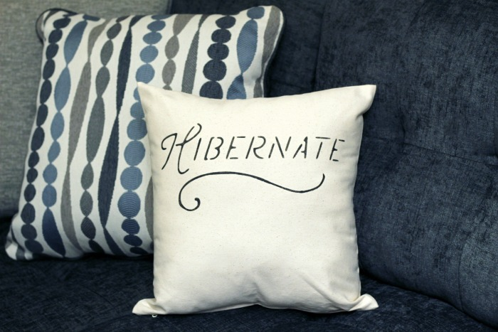 DIY Winter stenciled Pillows | www.knickoftime.net