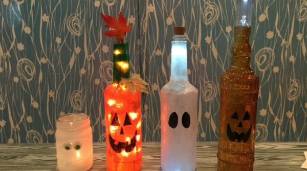 Repurposed Jars & Bottles for Halloween by Chas' Crazy Creations