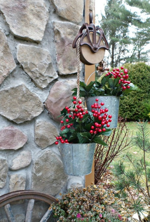 Barn Pulley Bucket Farmhouse Christmas Planter