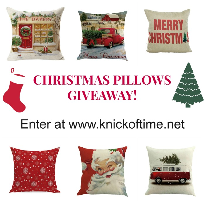 Christmas Pillows Giveaway at Knick of Time | www.knickoftime.net