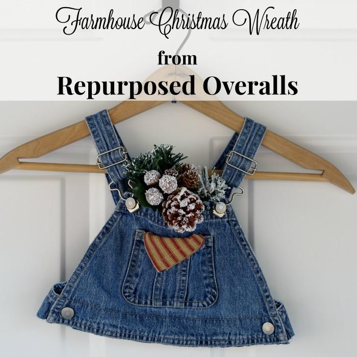 DIY Farmhouse Christmas Wreath fomRepurposed denim overalls| www.knickoftime.net