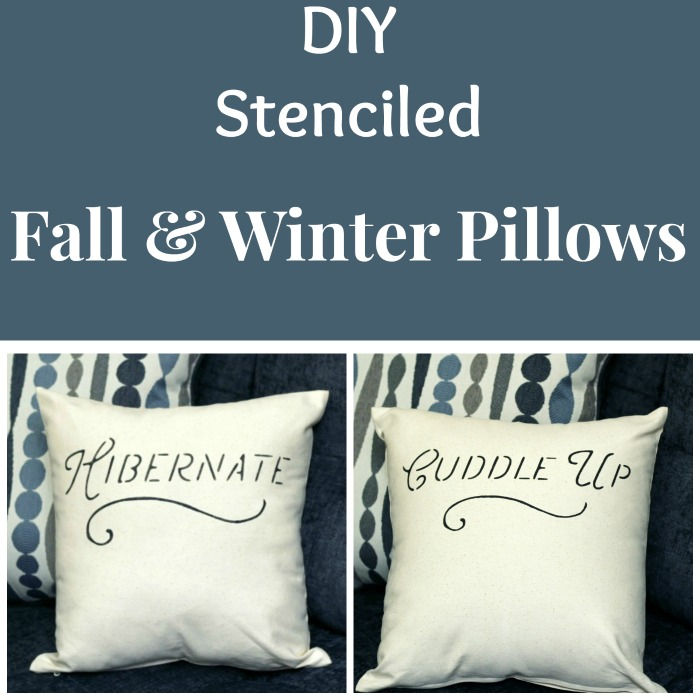DIY Stenciled Fall & Winter Pillow Covers | www.knickoftime.net