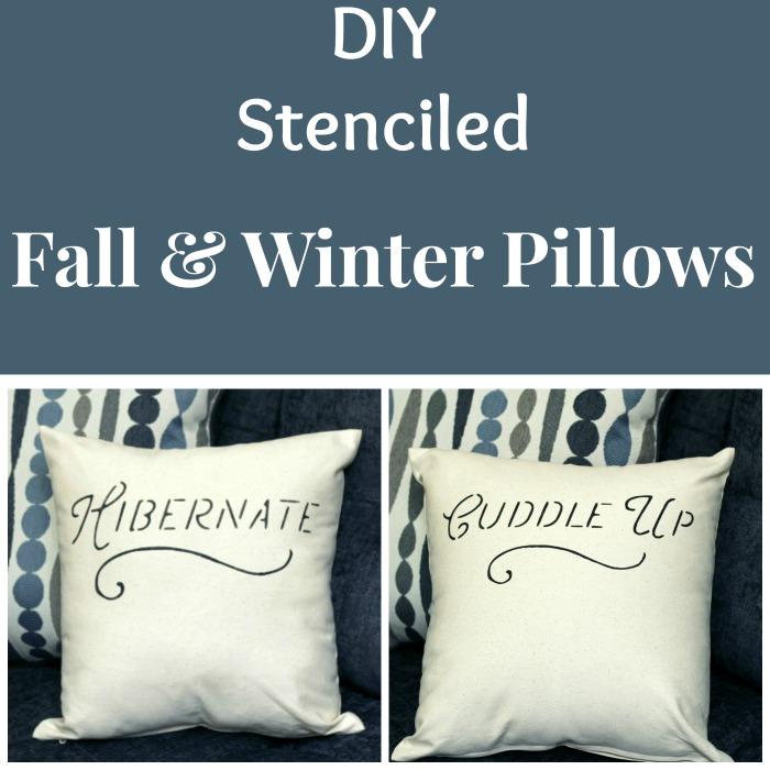 DIY Stenciled Fall & Winter Pillow Covers | www.knickoftime.net