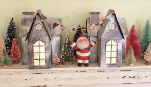 DIY faux zinc Christmas village