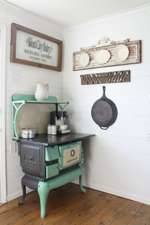 Antique stove in farmhouse Kitchen