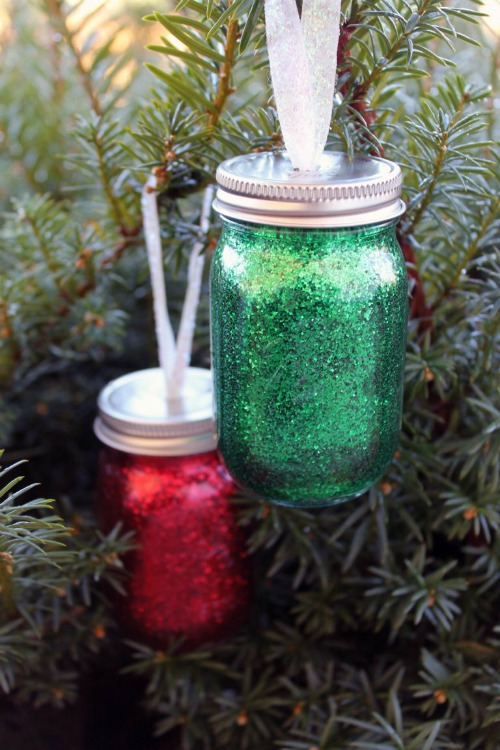 Glitter mini mason jar ornaments