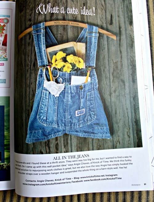 Upcycled Denim Overalls Wall Pocket | www.knickoftime.net