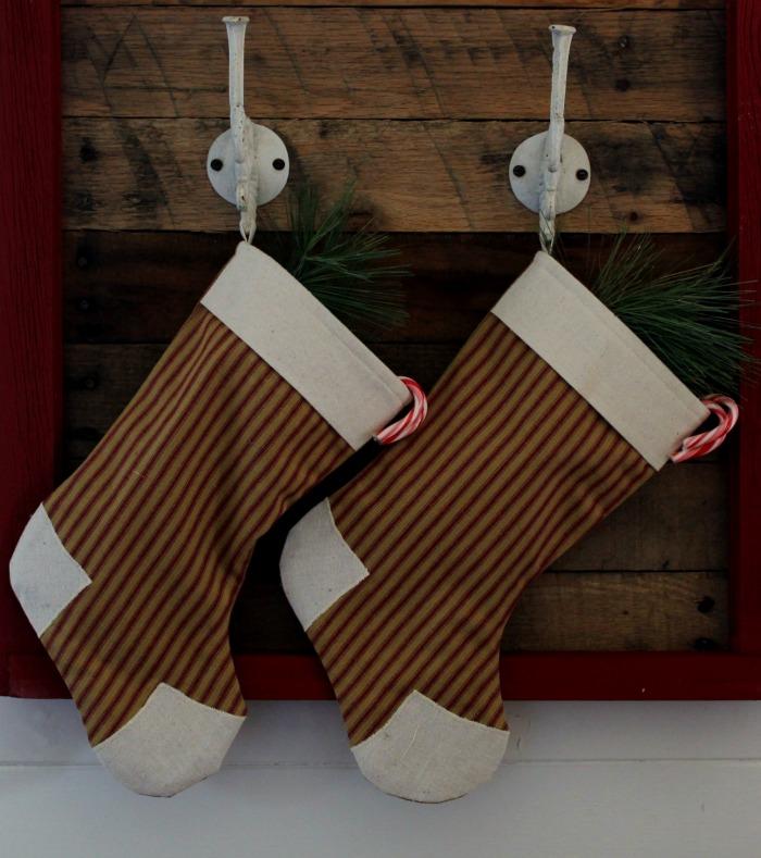DIY salvaged wood Christmas stockings hooks
