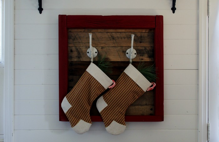 rustic farmhouse pallet wood and repurposed wooden window Christmas stockings hanger