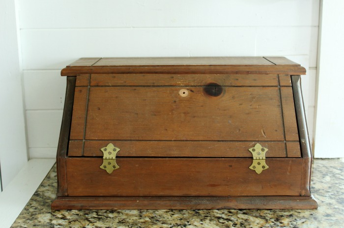 vintage kitchen breadbox makeover
