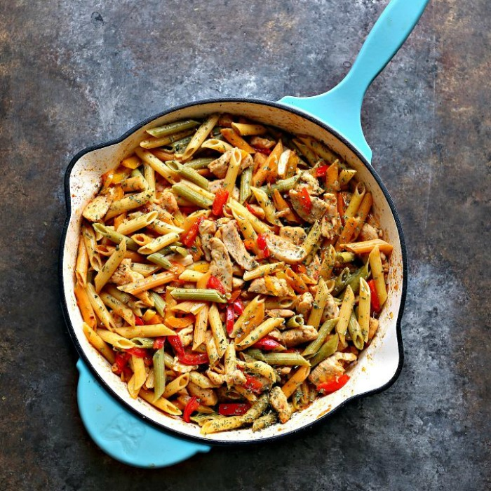 30 Minute Chicken Vegetable Skillet Pasta