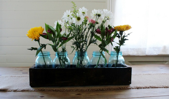 Rustic wood crate mason jar centerpiece for spring knick