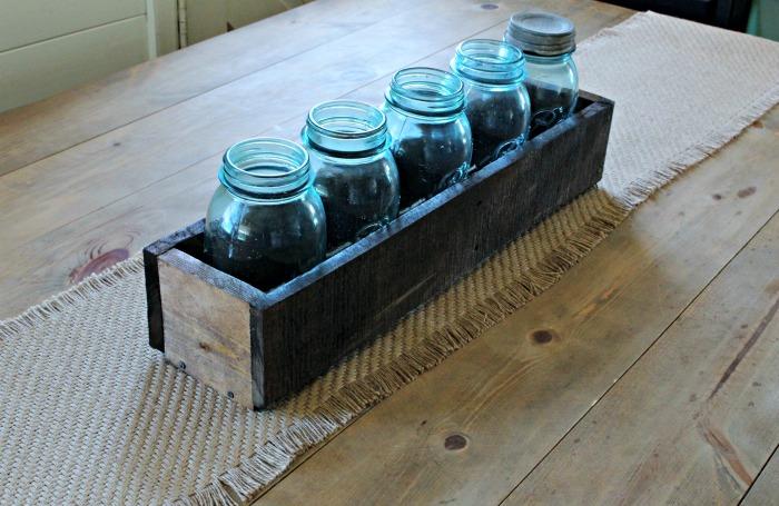 mason jar wood crate centerpiece