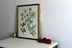 Spring Green Fresh Flowers Stenciled Dresser