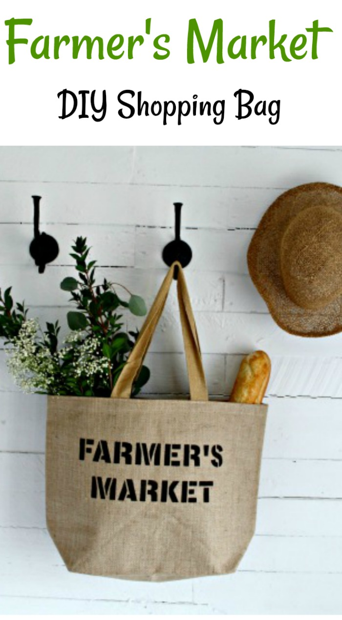 Make this DIY Shopping Bag to take to the Farmer's Market and you'll be the envy of the other shoppers! Made with Knick of Time's Vintage Sign Stencils| #knickoftime #farmersmarket #vintagesignstencils #reusable #farmhousestyle