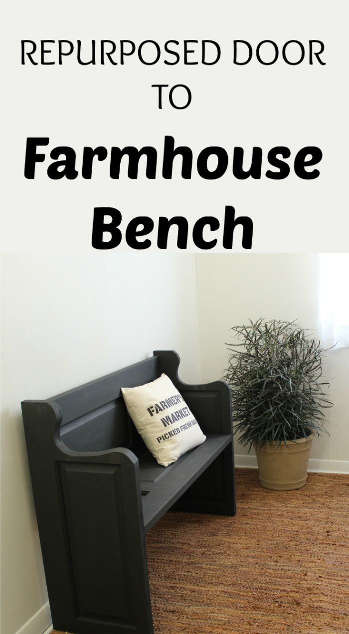Make a Farmhouse Entryway Bench from Repurposed Door! See how we did it at Knick of Time | www.knickoftime.net #KnickofTime #farmhousestyle #bench #repurposed #door