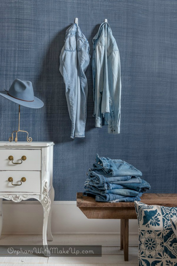 Painted Faux Denim Wall