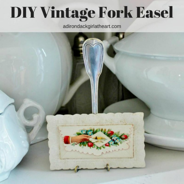 DIY Vintage Fork Easel by Adirondack Girl at Heart