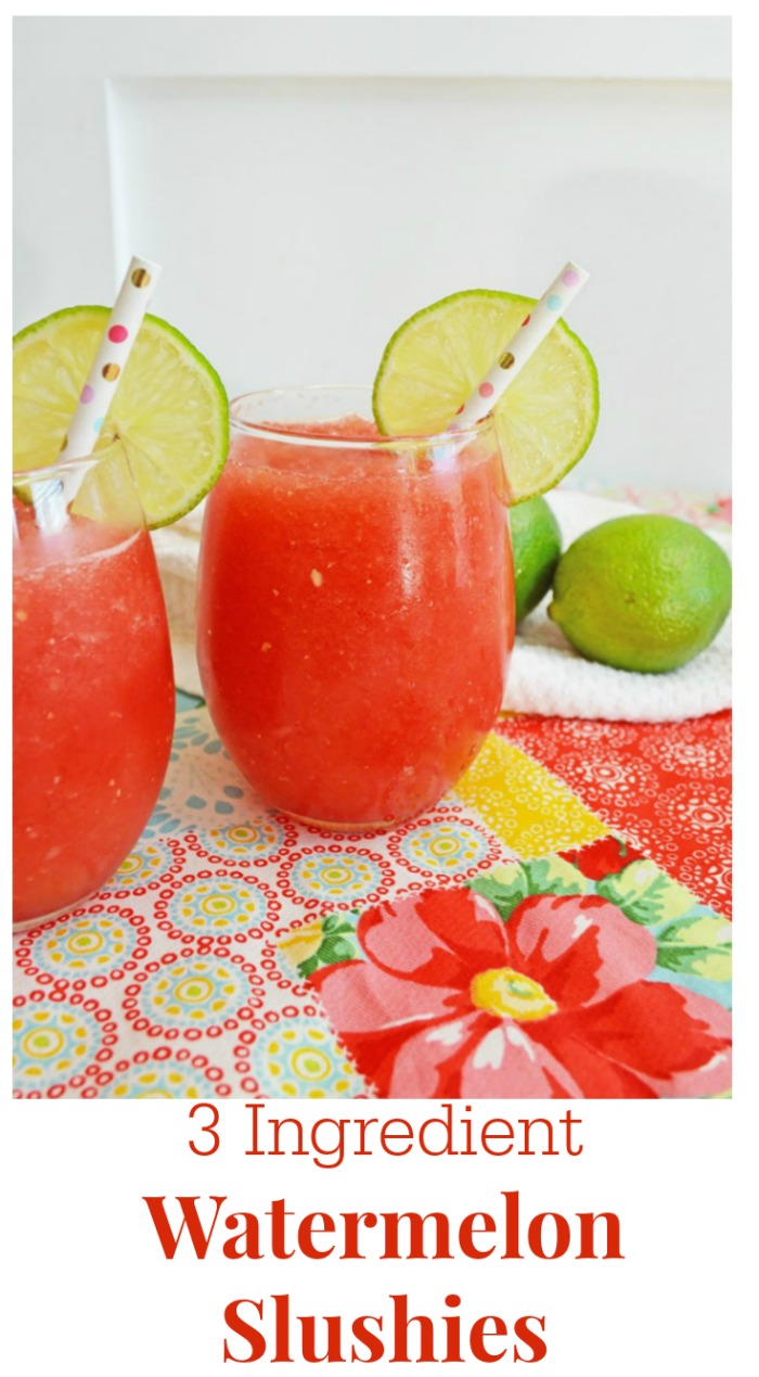 Make these Refreshing Watermelon Slushies in minutes! They are non-alcoholic so kids and adults will love them! #knickoftime #summerdrinks #nonacoholic |www.knickoftime.net