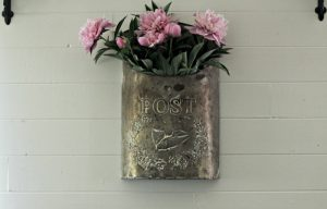 Vintage Style Peonies Mailbox Wall Decor