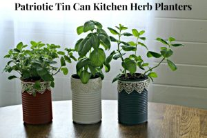 Patriotic Tin Can Kitchen Herb Planters
