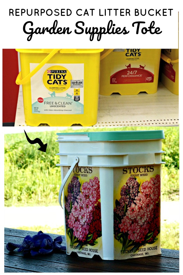 Repurposed & Upcycled Cat litter Bucket Gardening Supplies Tote