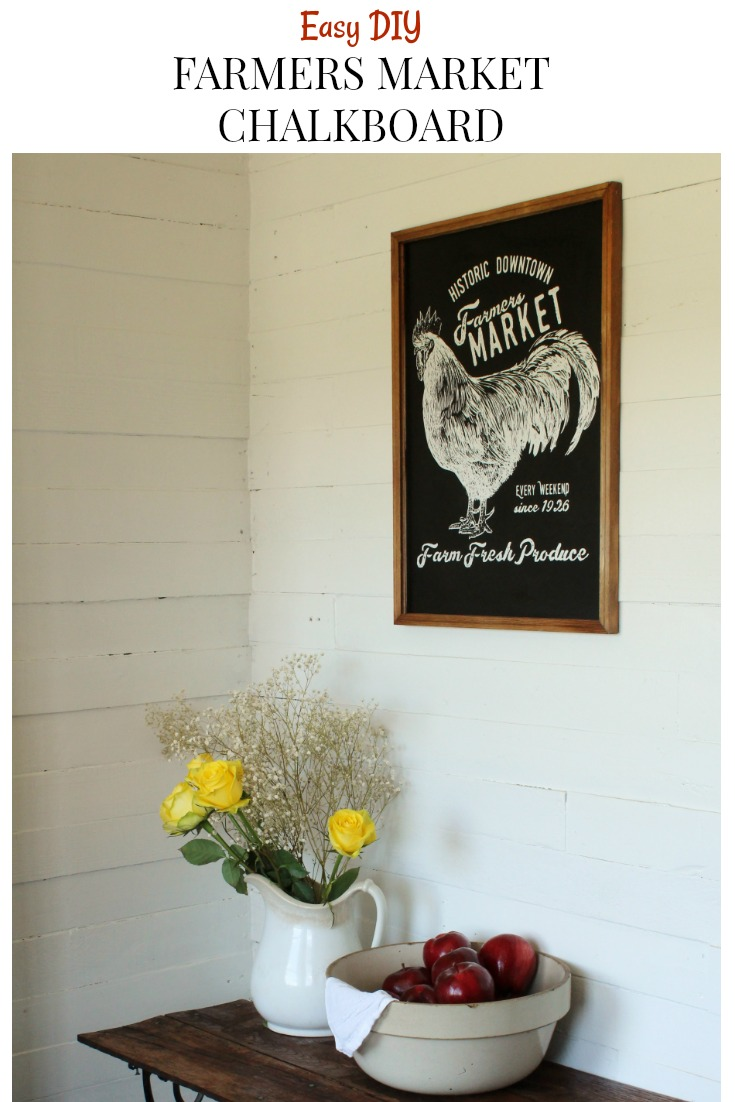 This DIY farmers market chalkboard is the perfect addition to any farmhouse! It's so easy to make. Step by step directions & photos included from Knick of Time #knickoftime #farmersmarket #countryliving #chalkboard #DIYproject #farmhousestyle #ChalkCouture  #screenprint