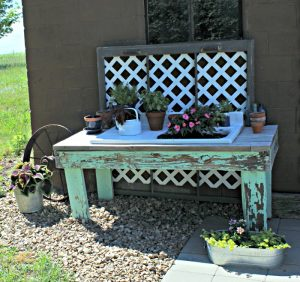 Farmhouse style potting bench backyard patio garden