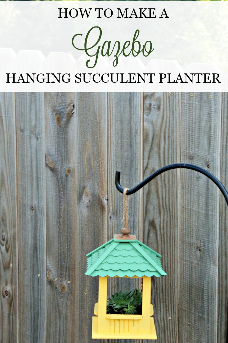 Make this easy, adorable DIY Gazebo Bird Succulent Hanging Planter! It's so simple to do and looks so charming. Directions at Knick of Time #knickoftime #succulents #DIYplanter #gardendecor #DIYproject