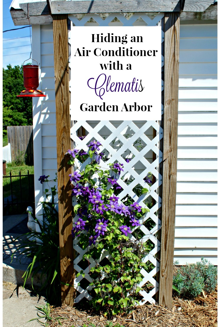 How to hide an air conditioner by making a clematis garden arbor. One of a series of Junk Garden Projects by Knick of Time.