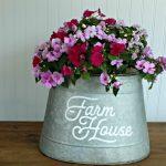 Easy DIY Galvanized Farmhouse Style Bucket Planter