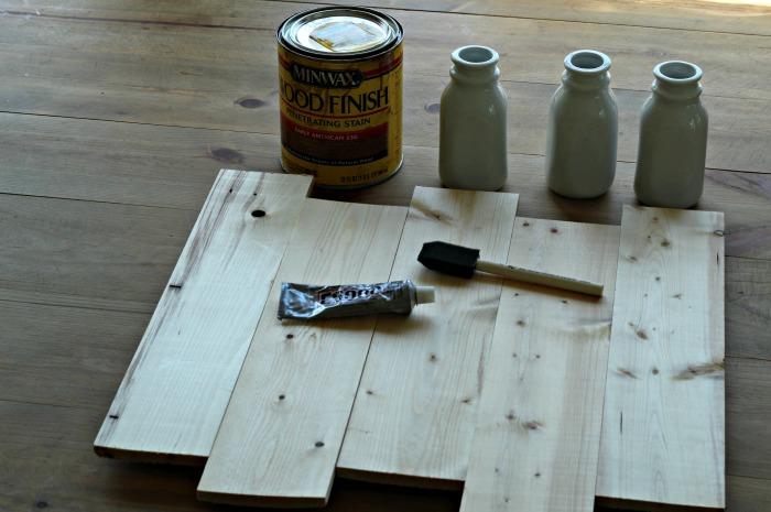 Joanna Gaines Style Farmhouse Rustic Wood Farmhouse Hanging Milk Bottle Flower Vase | www.knickoftime.net