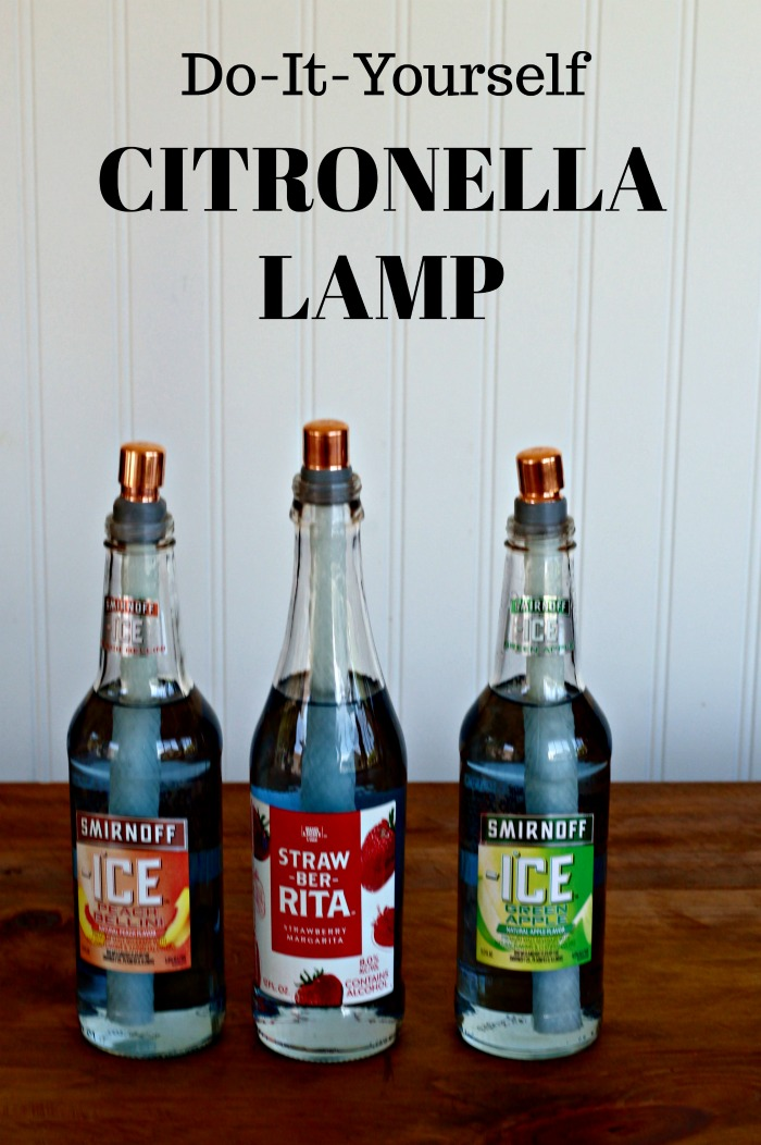 Repurposed Bottle Citronella Oil Lamps for Picnics or Camping