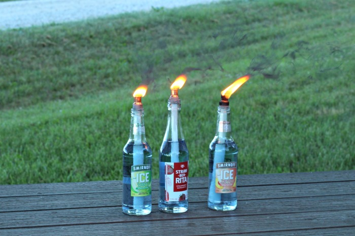 Repurposed Bottles Citronella Oil Lamps for Picnics or Camping | www.knickoftime.net