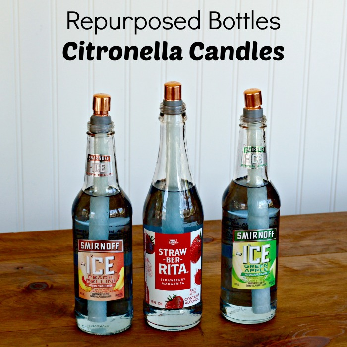 Repurposed Glass Bottles Turned Into Citronella Candles