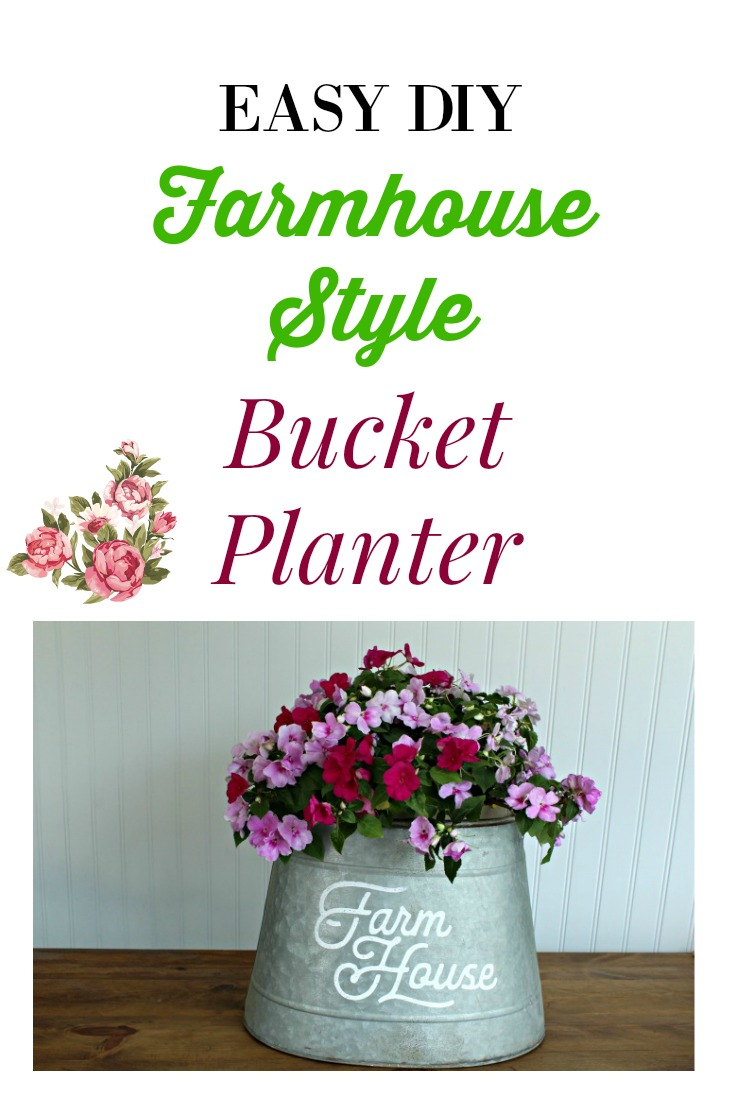 Make this easy DIY Galvanized Farmhouse Planter in about 5 minutes! It will look  so pretty on a porch with flowers in it or use it indoors as a centerpiece.   Made with a Chalk Couture transfer and Chalkology Paste!    The full tutorial is at Knick of Time. #KnickofTime #ChalkCouture #farmhousestyle #DIYproject #ChalkCouture #farmhousestyle #DIYproject