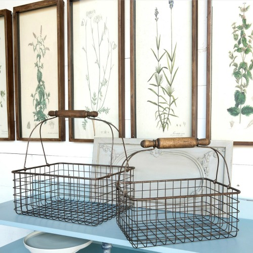 Wire Bakery Shopping Basket with Rolling Pin Handle | knickoftime.net