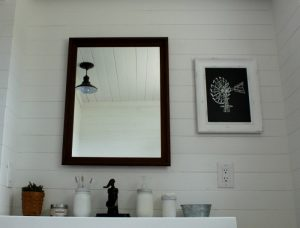 Repurposed Frame Bathroom Mirror & Windmill Chalkboard