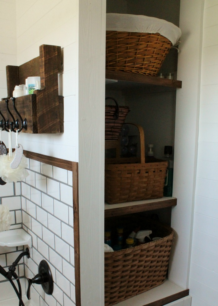 Farmhouse Bathroom Remodel Built In Open Shelves | knickoftime.net