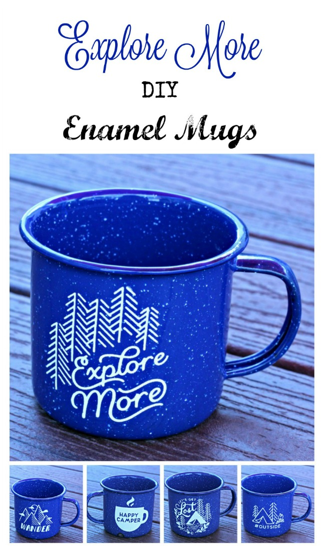 Create these amazingly simple Chalk Couture Explore More enamel mugs with 12 different designs to choose from.  Perfect for the outdoor enthusiast! #KnickofTime #exploremore #chalkcouture #outside #wander #happycamper #letsgetlost #camping #climbing #bouldering #adventures #hiking #backpacking #kayaking #discover #greatoutdoors