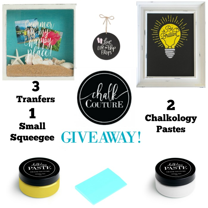 Chalk Couture Giveaway at Knick of Time 3 Chalk Couture Transfers, 1 Squeegee +2 Chalkology Pastes | knickoftime.net