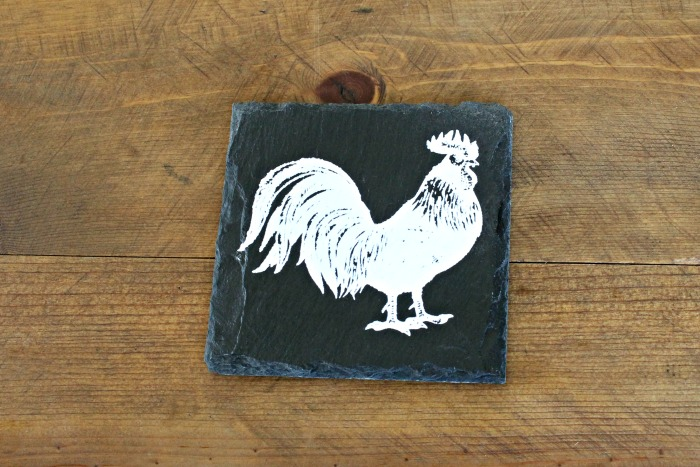 Chalk Couture farmhouse rooster slate drink coaster | knickoftime.net