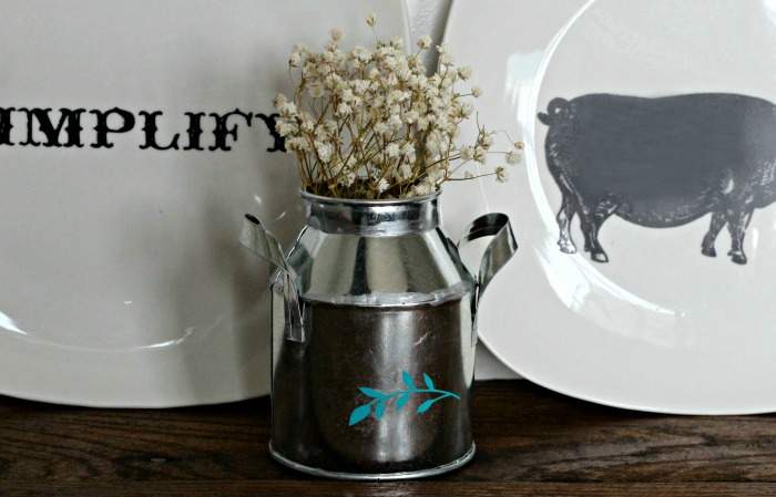 DIY Chalk Couture Chalked Embellished Galvanized Mini Milk Can by Knick of Time | knickoftime.net