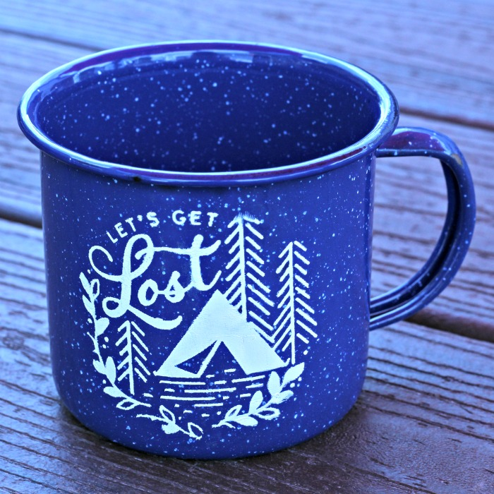 Explore More Let's Get Lost Enamel Camping Mugs by Knick of Time | knickoftime.net