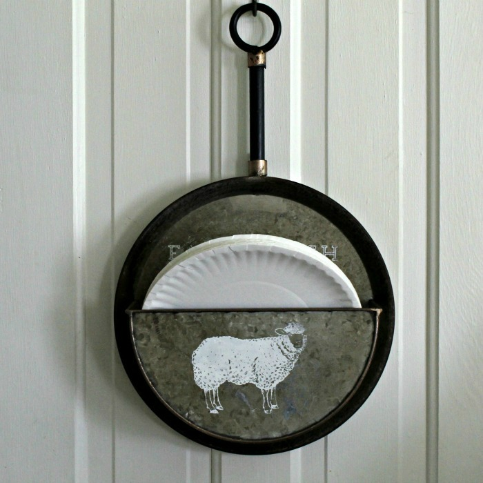 Farm Fresh Farmhouse Chalk Couture Sheep Transfer Galvanized Paper Plate Holder by Knick of Time | knickoftime.net