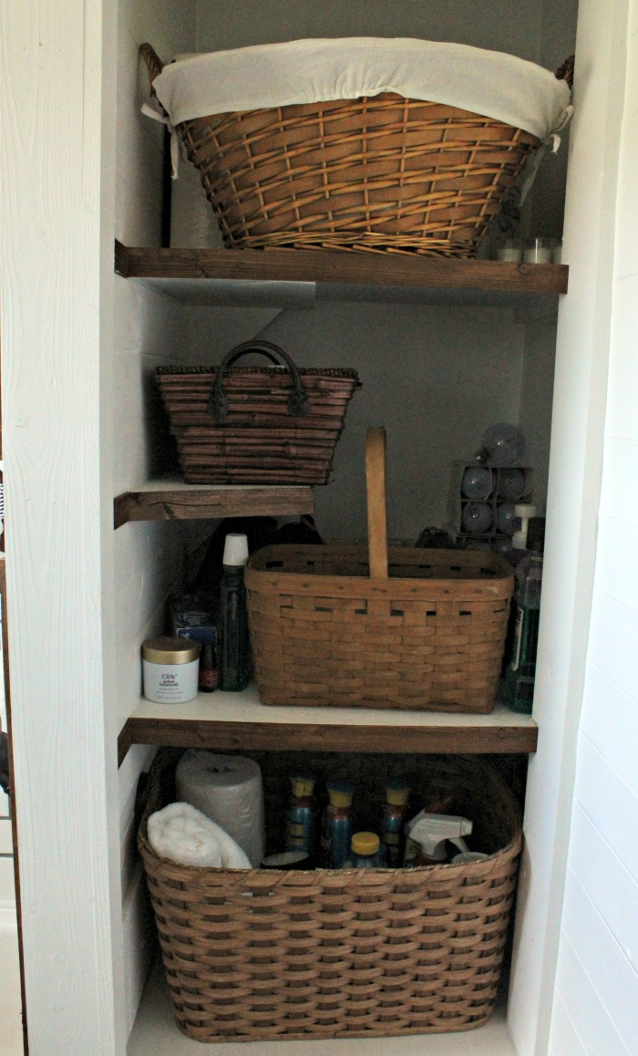 Bathroom Open Shelves Cabinet With Barn Door Hidden Storage