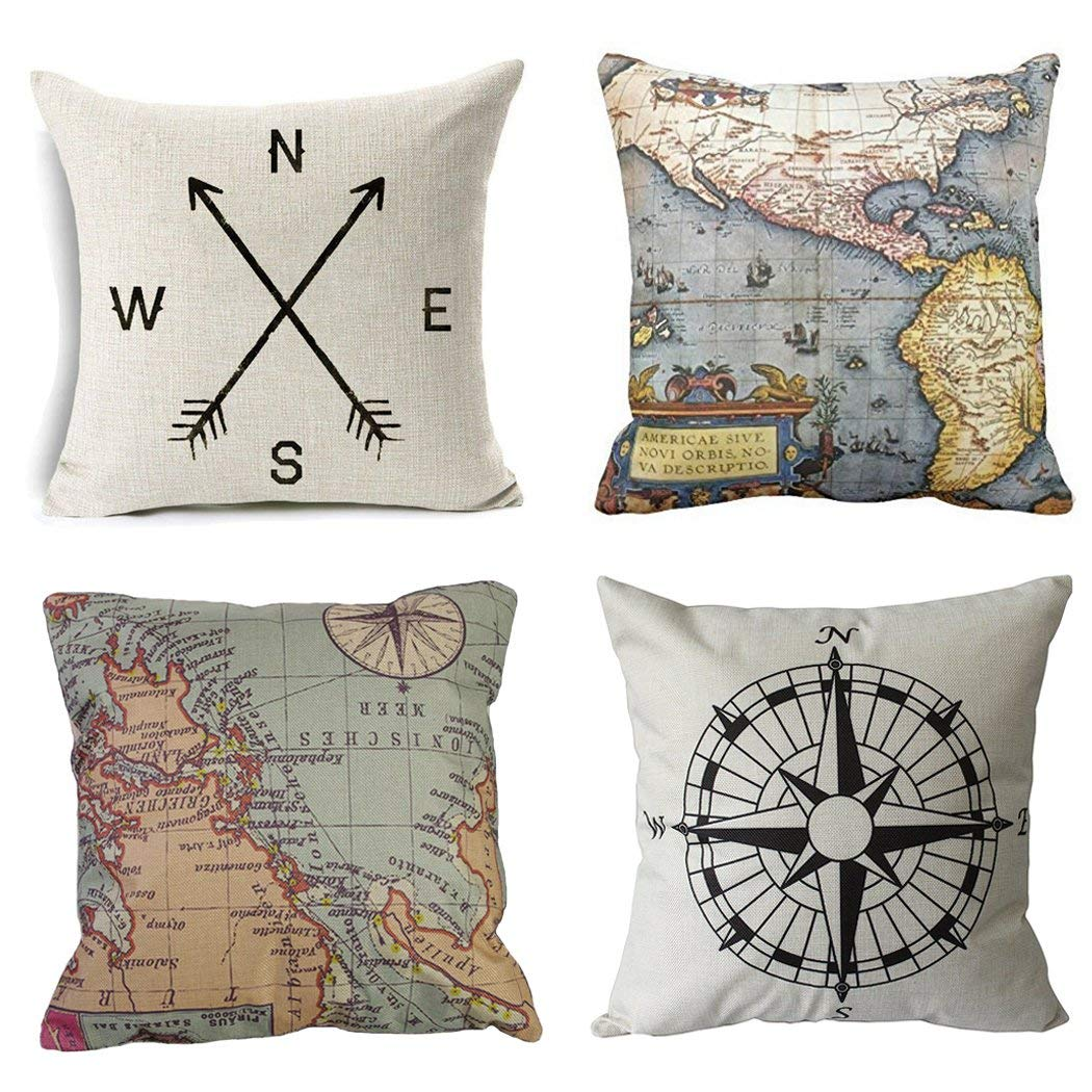 geography theme pillow covers